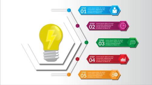 Bulb infographics design vector