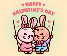 Bunny couple swing cartoon illustration vector