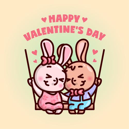 Bunny couple swing cartoon illustration vector