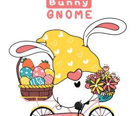 Bunny gnome easter on easter egg bike vector