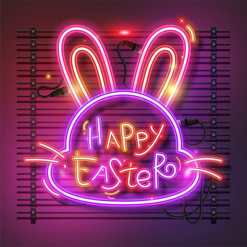 Bunny neon easter vector