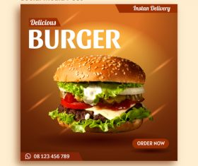 Burger sale social media post advertising vector
