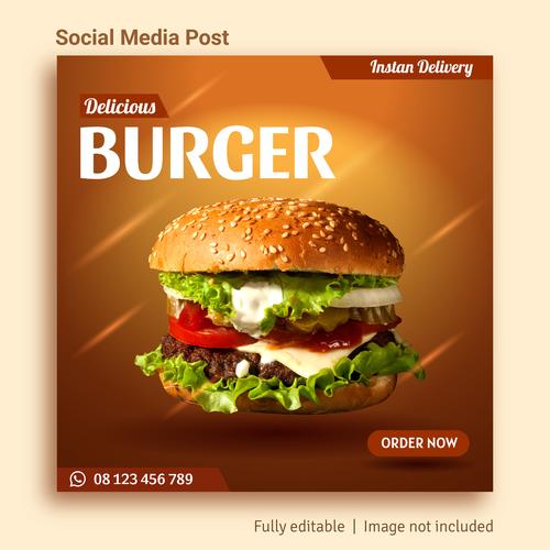 Burger sale social media post advertising vector
