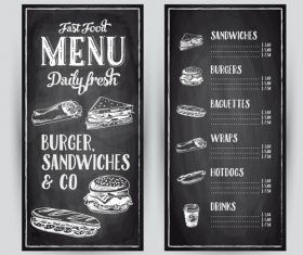 Burger sandwiches menu card vector