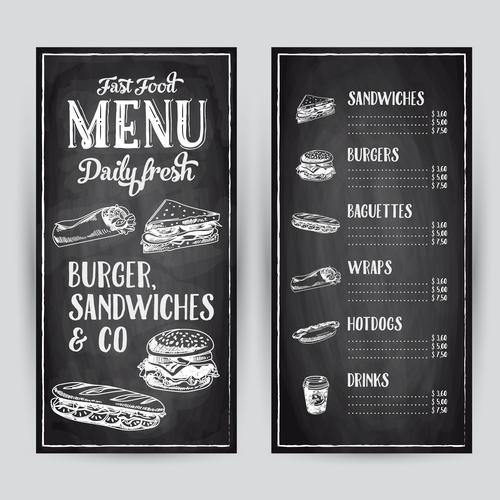Burger sandwiches menu card vector