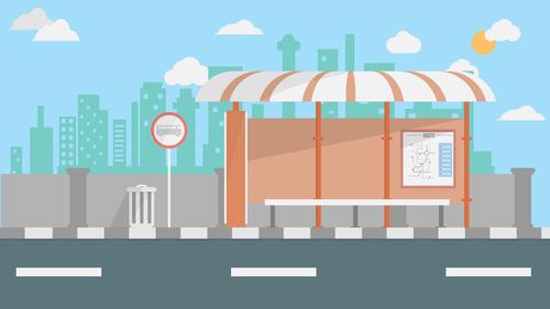 Bus terminal illustration background vector
