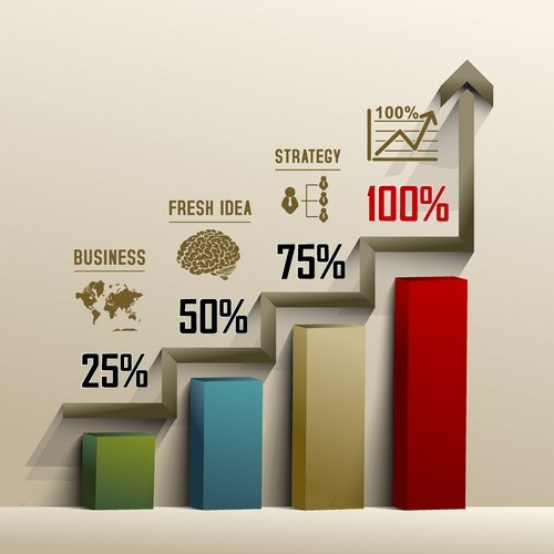 Business data infographic vector