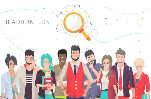 Business headhunters cartoon illustration vector