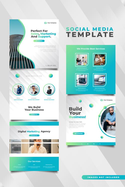 Business social media template vector