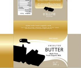 Butter golden packaging vector