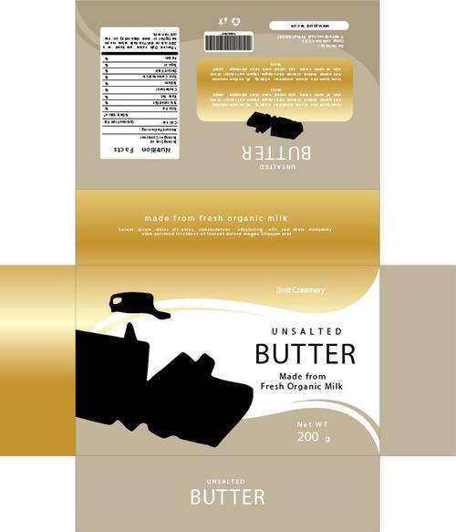 Butter golden packaging vector