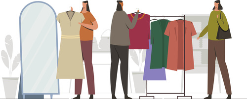 Buying clothes In shopping mall illustration vector