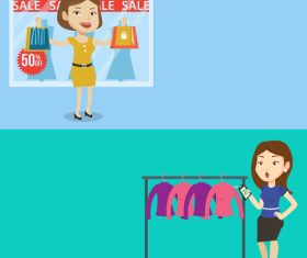 Buying discounted goods cartoon illustration vector
