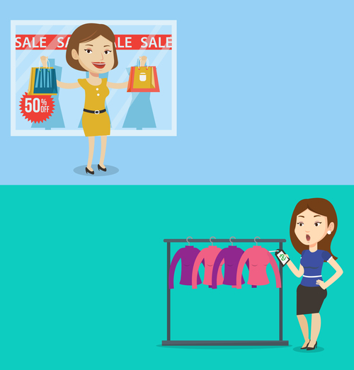 Buying discounted goods cartoon illustration vector