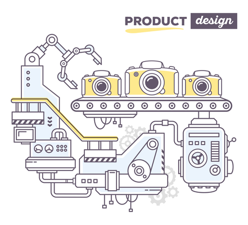 Camera production business concept vector