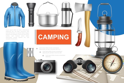 Camping set 3d illustration vector