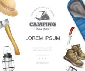 Camping tool 3d illustration vector