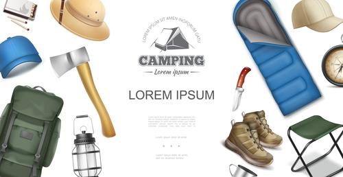 Camping tool 3d illustration vector