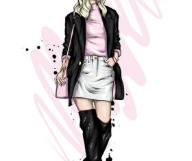 Capable female fashion clothes and accessories watercolor illustration vector
