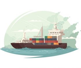 Cargo ship cartoon illustration vector