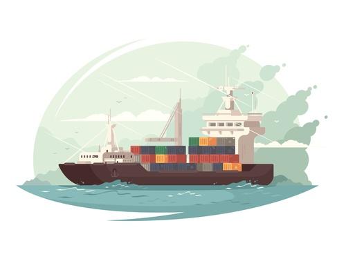 Cargo ship cartoon illustration vector