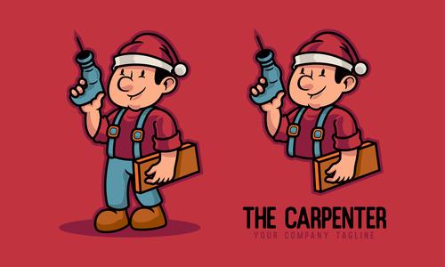 Carpenter cartoon character vector