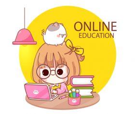 Cartoon illustration kid studying online vector
