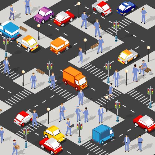 Cartoon street isometric 3d illustration vector