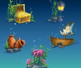 Cartoon underwater world vector