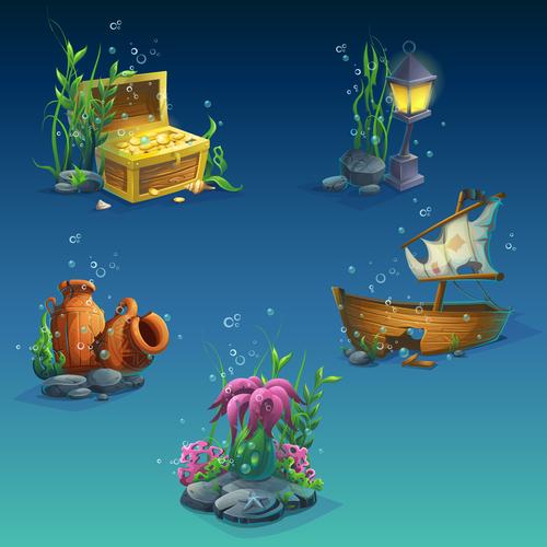 Cartoon underwater world vector