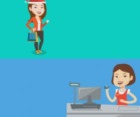 Cashier and female customer cartoon illustration vector
