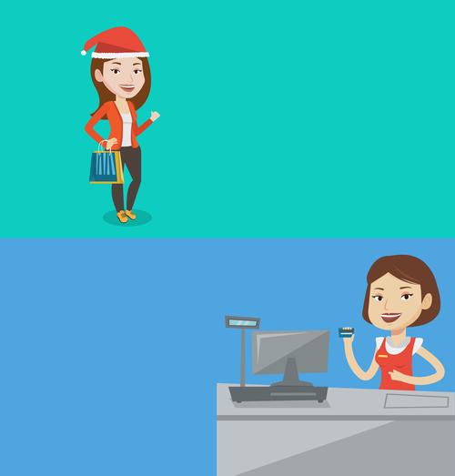 Cashier and female customer cartoon illustration vector