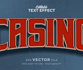 Casino editable text effect vector