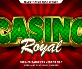 Casino royal 3d editable text style effect vector