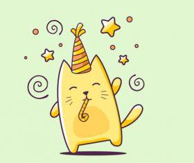 Cat birthday cartoon illustration vector