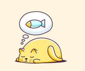 Cat cartoon illustration vector that wants to eat fish