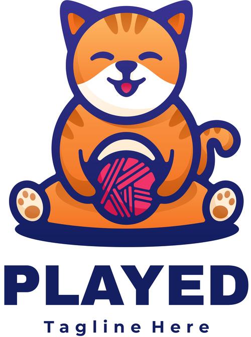 Cat cartoon mascot logo vector