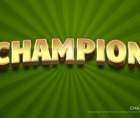 Champion text style effect vector