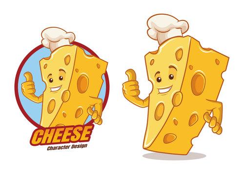 Cheese cartoon character mascot design vector