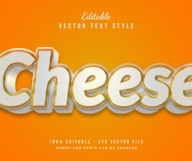 Cheese text style effect vector