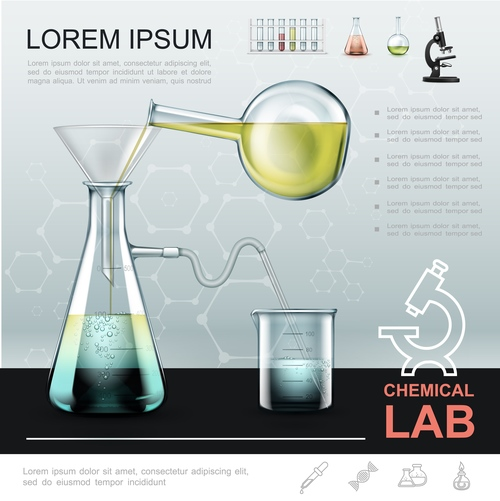 Chemistry experiment realistic 3d illustration vector