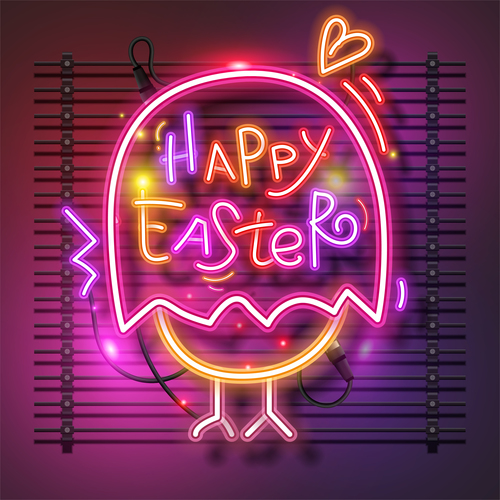 Chick neon easter vector