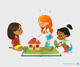 Children playing together cartoon illustration vector
