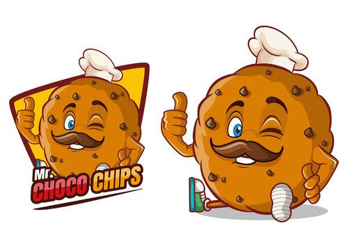 Choco chips cartoon character mascot design vector
