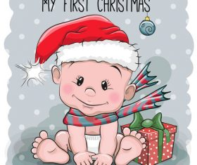 Christmas baby cartoon illustration vector