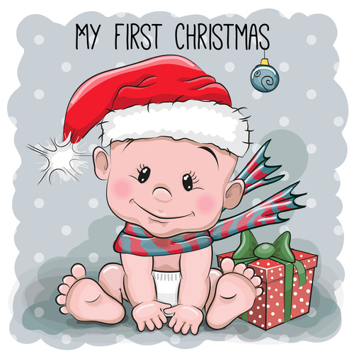 Christmas baby cartoon illustration vector