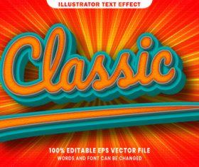 Classic 3d editable text style effect vector