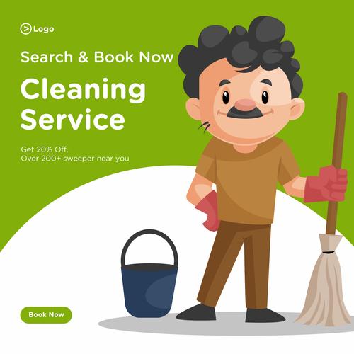 Cleaner cartoon illustration vector