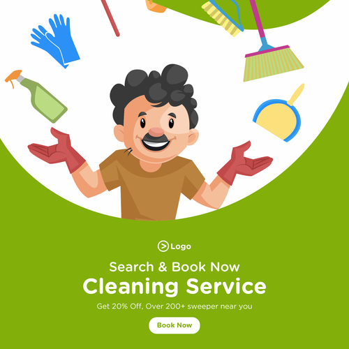 Cleaning service cartoon illustration vector