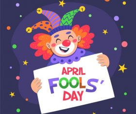 Clown cartoon vector holding april fools day cardboard
